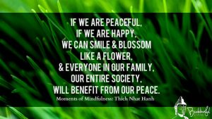 If we are peaceful, if we are happy, we can smile & blossom like a flower, & everyone in our family, our entire society, will benefit from our peace.