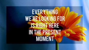 Everything we're looking for is right here in the present moment
